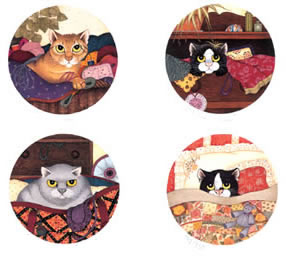 Lazy Cats (Set of 4) by Linda Jane Smith