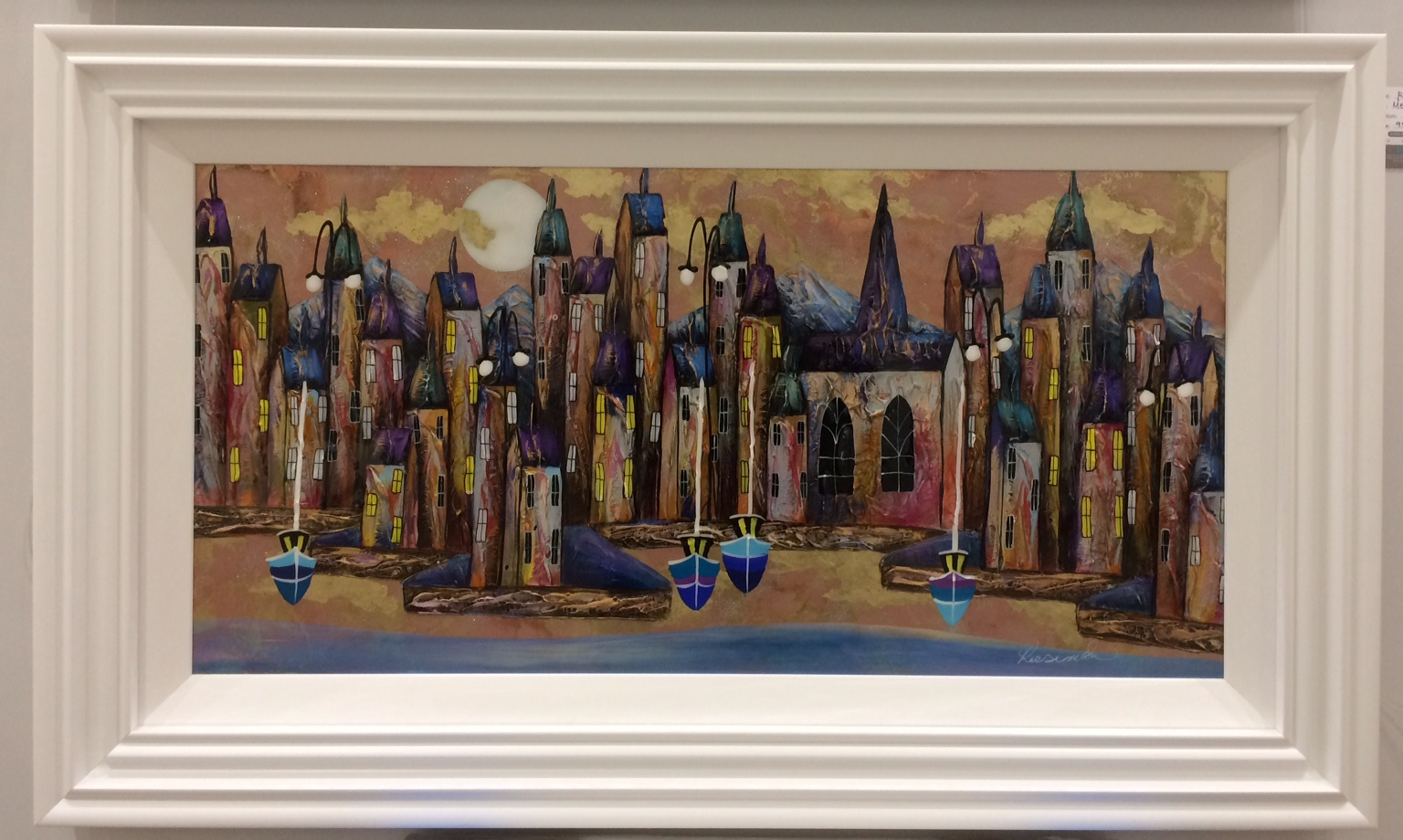 Metallic Night Harbour I (36 x 18) by Rozanne Bell