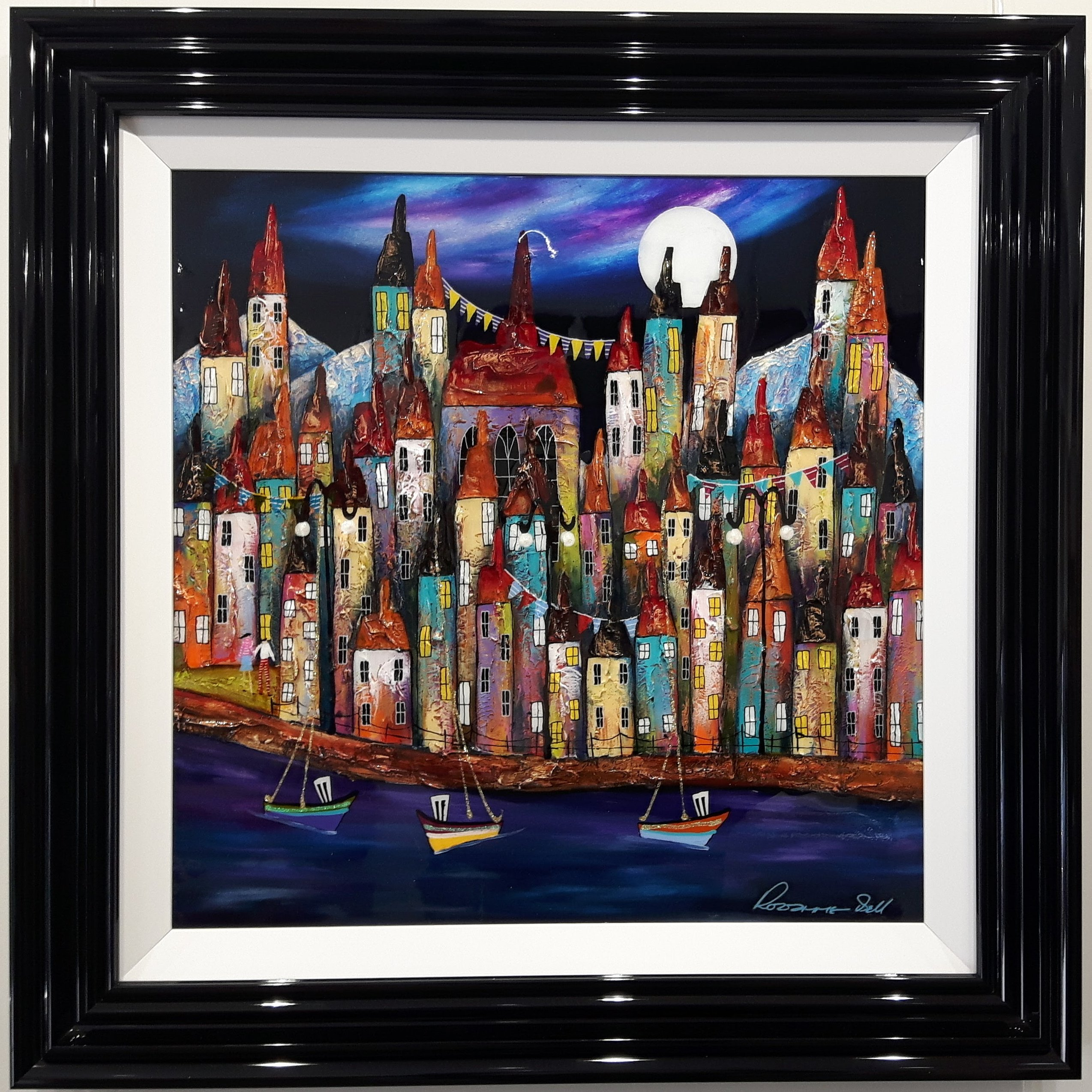 Moonlit Harbour Town I by Roz Bell