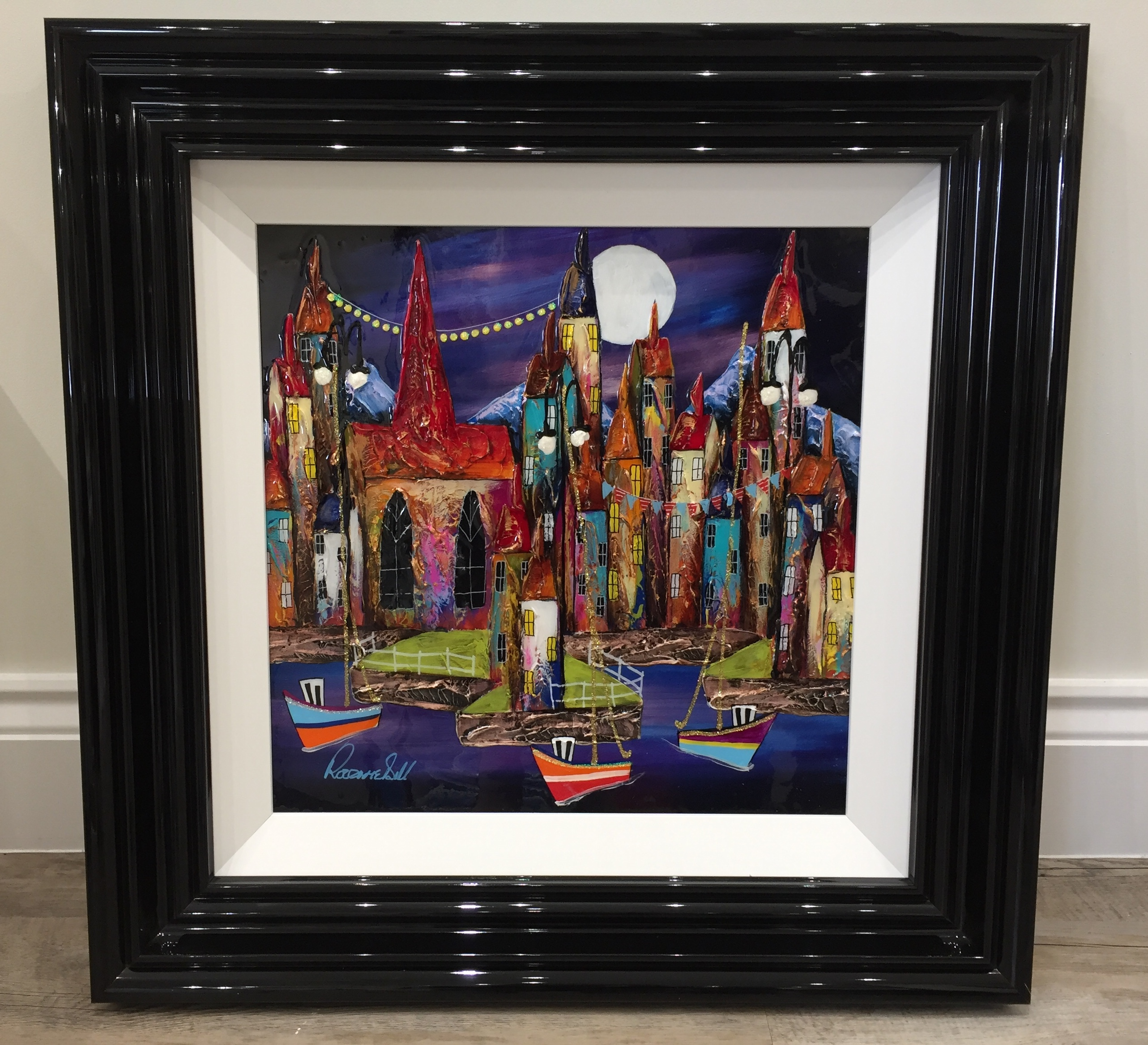 Night Harbour 16 x 16 by Rozanne Bell