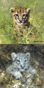 Ocelot & Snow Leopard Cubs - Mini Collection by David Shepherd