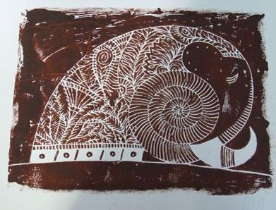 Rock A/P 12 Lino Cut (brown) by Govinder Nazran