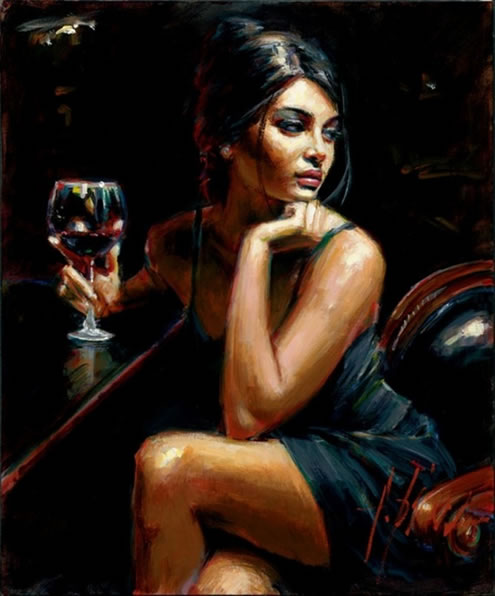 Saba With Glass Of Red Wine by Fabian Perez
