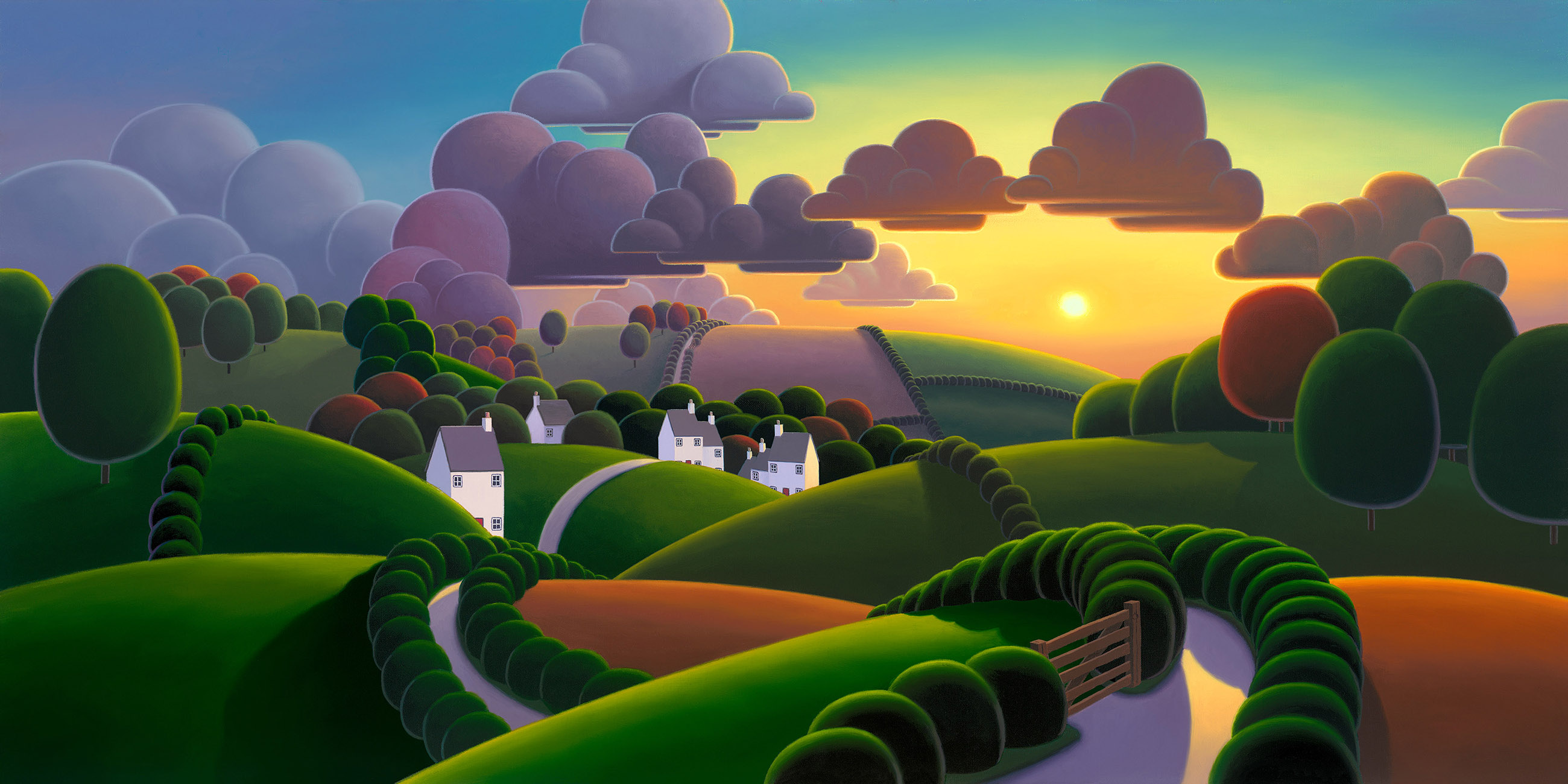 Sunrise Over the Village by Paul Corfield