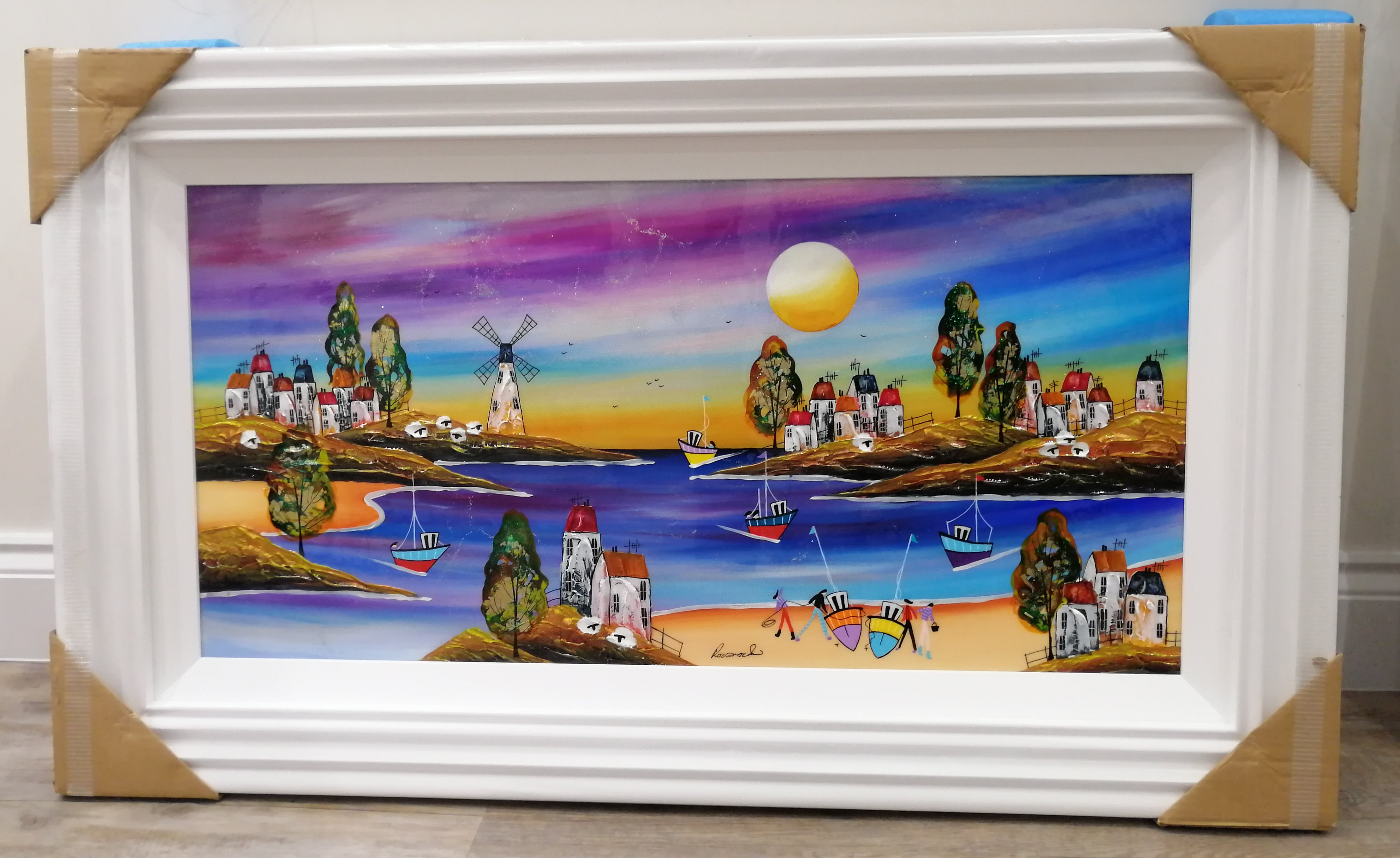 Sunset Over The Beach (18x36) by Rozanne Bell