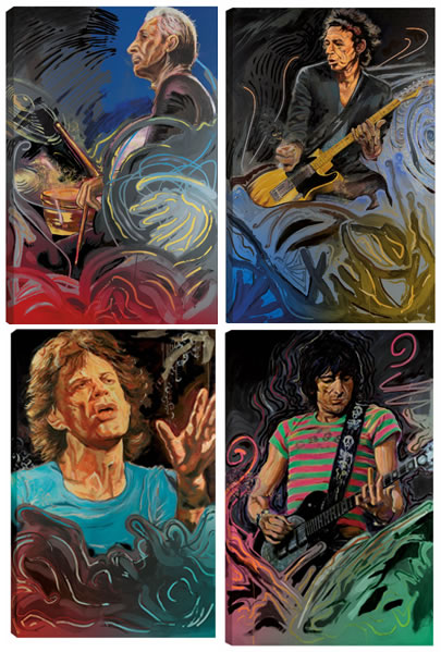 The Blue Smoke Suite - Portfolio of Four Canvas Edition by Ronnie Wood