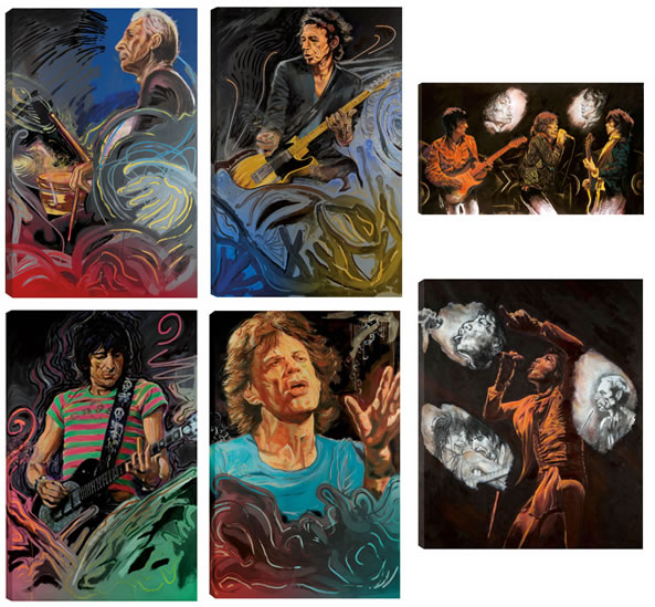 The Blue Smoke Suite Portfolio  &  Stones Raw Panels  I & II - Canvas Edition by Ronnie Wood
