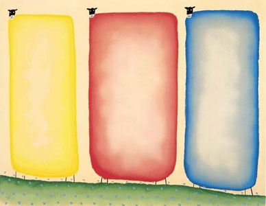 Three Sheep by Mackenzie Thorpe