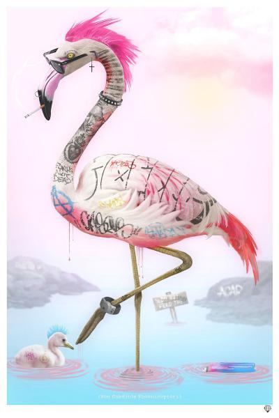 Punk Flamingos- Black Frame