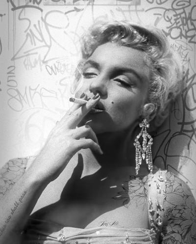 Smoking Gun- Marilyn- Black and White