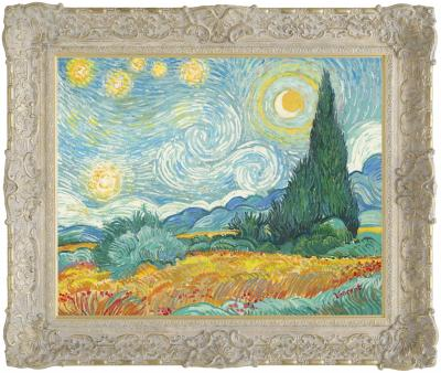 Starry Night With Wheat Field and Cypress Trees