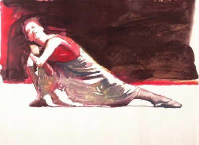 Dancer Red And White by Robert Heindel