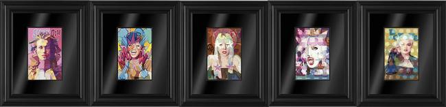 Eye Cons Set of 5 Framed Boxed Canvases by Stuart McAlpine Miller