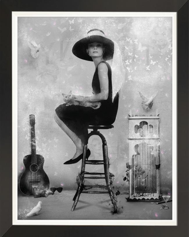 Free Spirit (Breakfast at Tiffanys) Black and White - Embellished Canvasby Mark Davies