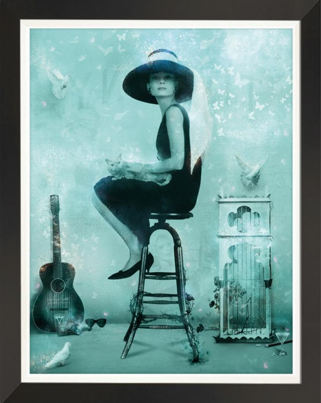 Free Spirit (Breakfast at Tiffanys) - Embellished Canvasby Mark Davies