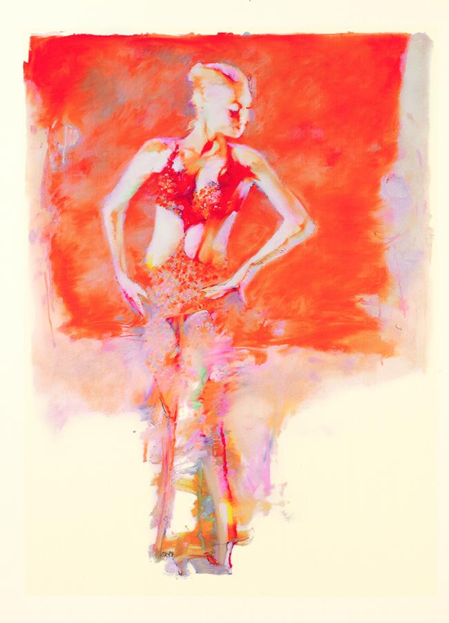 Glitter Girl On Orange by Robert Heindel