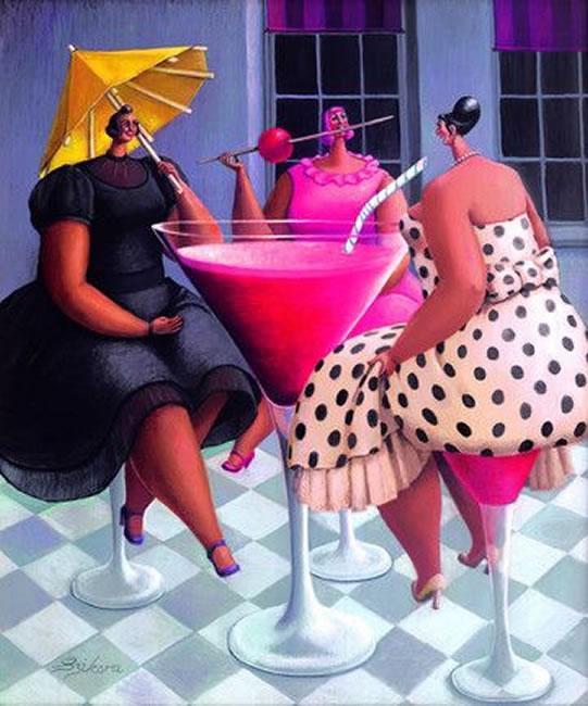 Ladies Wot Lunch - Canvas by Sarah Jane Szikora