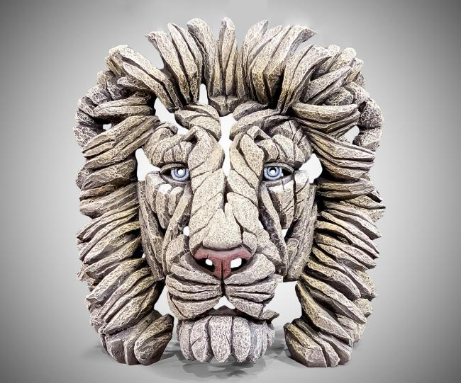 Lion Bust in White by Edge Sculptures by Matt Buckley