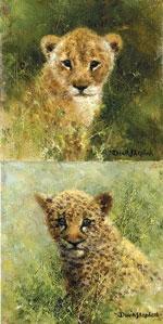 Lion & Leopard Cubs - Mini Collection by David Shepherd
