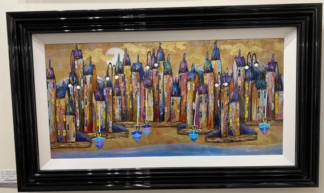 Metallic Night Harbour II (36 x 18) by Rozanne Bell