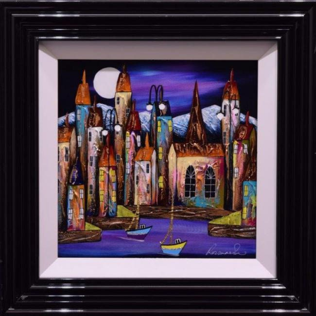 Moonlit Sail (16x16) by Rozanne Bell