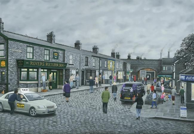On The Cobbles- Canvas by Leigh Lambert
