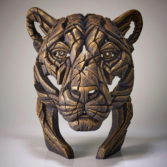 Panther Bust- Temple Gold by Edge Sculptures by Matt Buckley