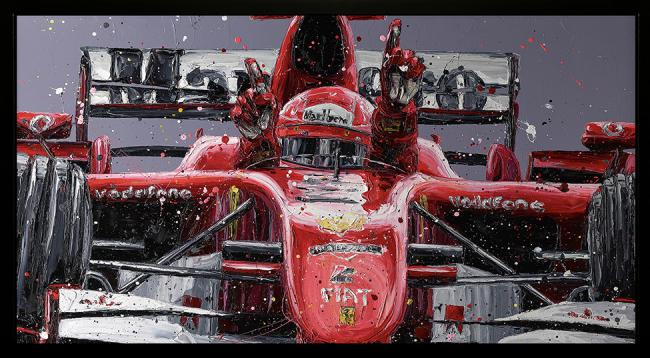 Schumi Last Win- Hand Embellished Canvas by Paul Oz