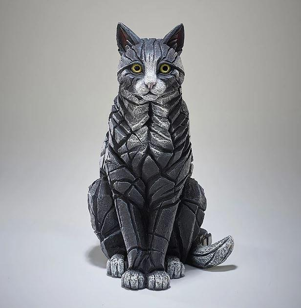 Sitting Cat Black & White by Edge Sculptures by Matt Buckley