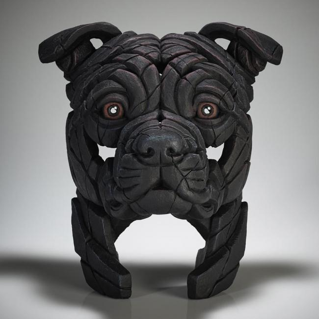 Staffordshire Bull Terrier Bust - Black by Edge Sculptures by Matt Buckley