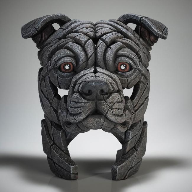 Staffordshire Bull Terrier Bust - Blue by Edge Sculptures by Matt Buckley