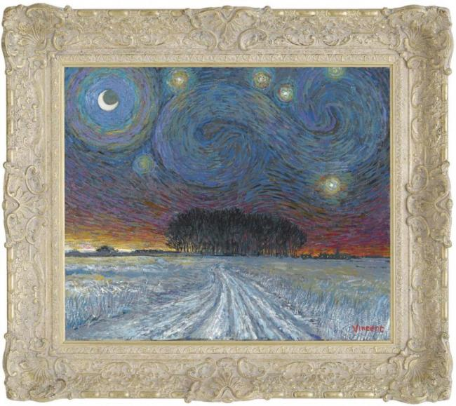 Starry Night with Snow and Distant Woodland by John Myatt