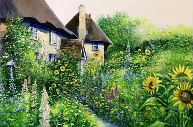 Sunflower Cottages by Heather Howe