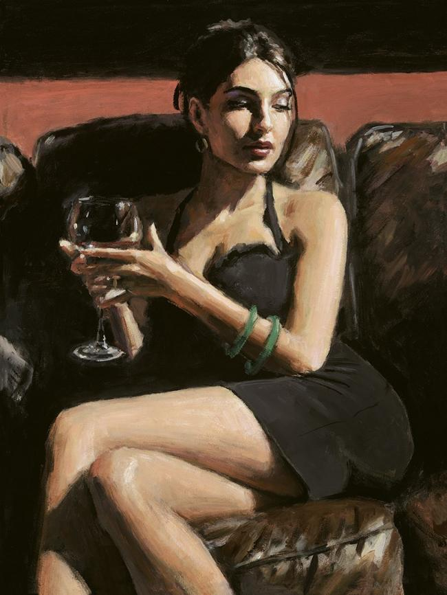Tess On Leather Couch by Fabian Perez