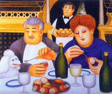 Escargot Pour Trois by Beryl Cook