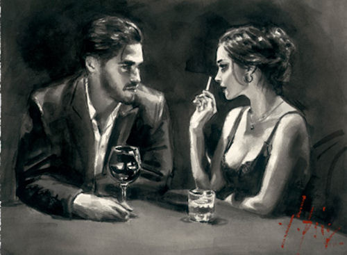 Intimate Moments IV (Black and White) by Fabian Perez
