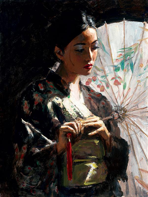 Michiko with White Umbrella by Fabian Perez