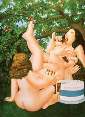 The Birthday Cake by Beryl Cook