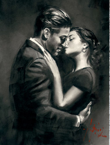 The Embrace II (Black and White) - LPEZ884 by Fabian Perez